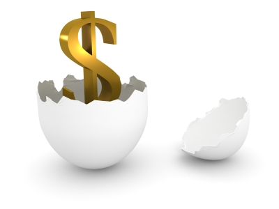 dollar sign growing out of an egg