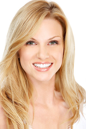 Blonde woman with a beautiful smile